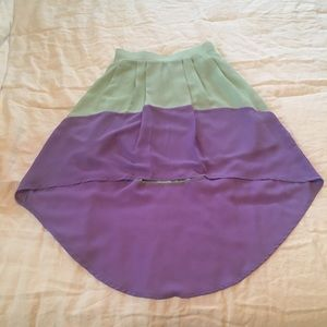 Modcloth Mint Green and Purple High-Low Skirt